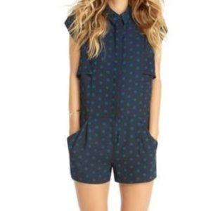 Rachel Roy navy blue polka dot shorts romper 10
